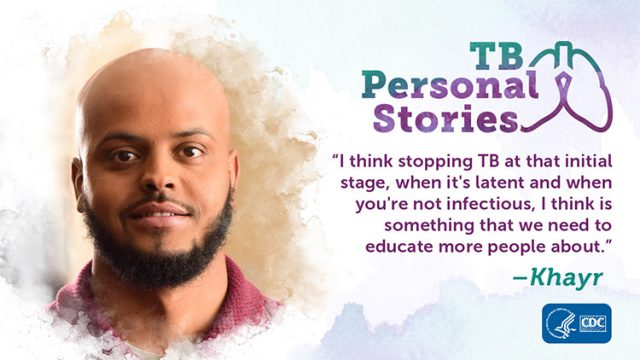 Promotional graphic for Khayr's TB Personal Story.
